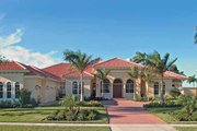 Mediterranean Style House Plan - 4 Beds 3.5 Baths 3817 Sq/Ft Plan #930-321 Exterior - Front Elevation