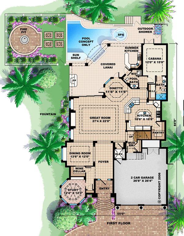 Beach Floor Plan - Main Floor Plan Plan #27-527