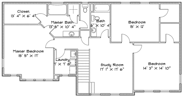 Traditional Floor Plan - Upper Floor Plan Plan #1060-32