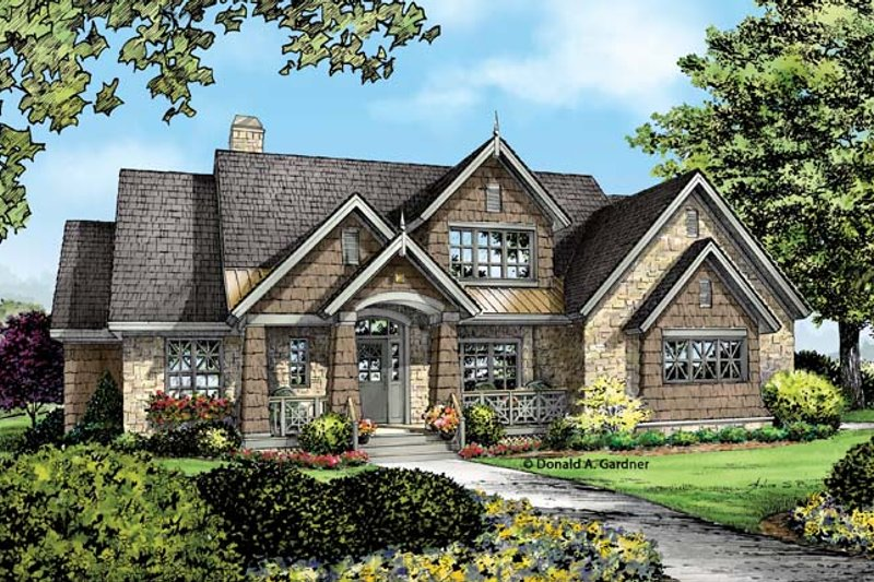 House Plan Design - European Exterior - Front Elevation Plan #929-954