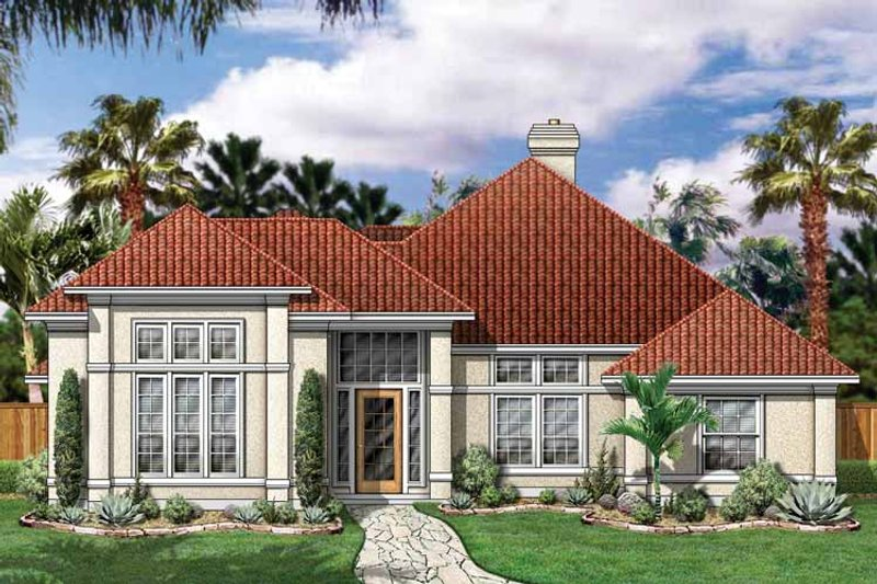 Mediterranean Exterior - Front Elevation Plan #84-700