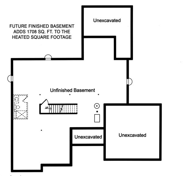 Craftsman Floor Plan - Lower Floor Plan Plan #46-897