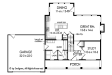Colonial Floor Plan - Main Floor Plan Plan #1010-198