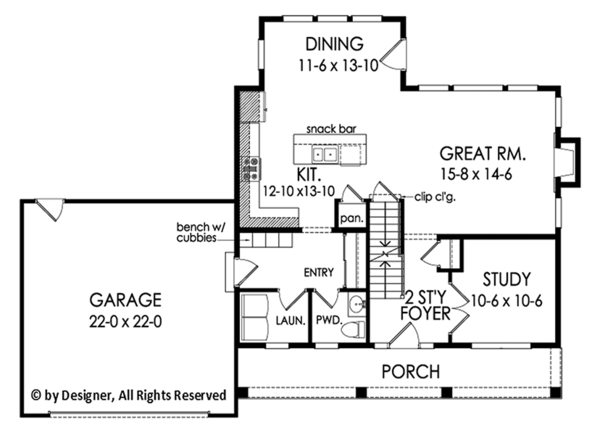 Architectural House Design - Colonial Floor Plan - Main Floor Plan #1010-198