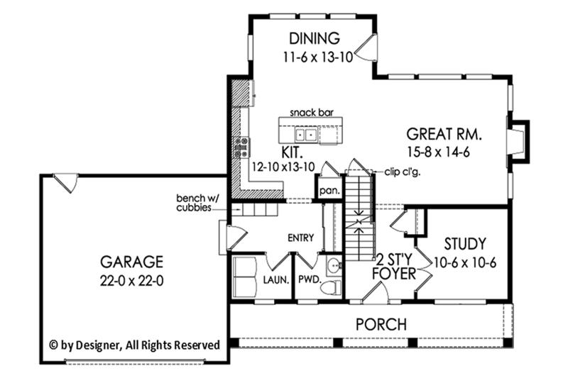 Colonial Floor Plan - Main Floor Plan Plan #1010-198
