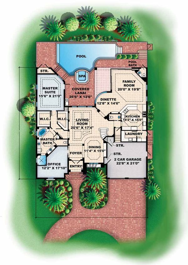 Mediterranean Floor Plan - Main Floor Plan Plan #1017-16