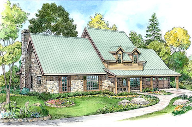 Craftsman Style House Plan - 3 Beds 2.5 Baths 2552 Sq/Ft Plan #140-124 Exterior - Front Elevation