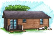 Ranch Style House Plan - 2 Beds 1 Baths 950 Sq/Ft Plan #70-1014 Exterior - Rear Elevation