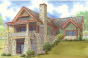 Craftsman Style House Plan - 2 Beds 3 Baths 1920 Sq/Ft Plan #17-3399 Exterior - Rear Elevation