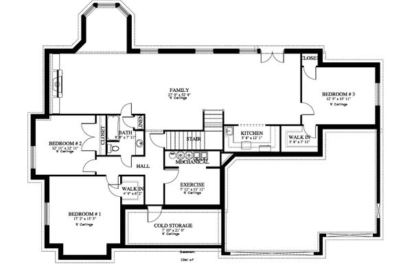 Traditional Floor Plan - Lower Floor Plan #1060-61