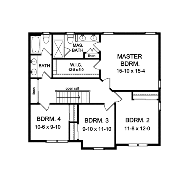 Traditional Floor Plan - Upper Floor Plan Plan #1010-125