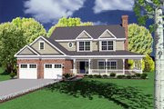 Country Style House Plan - 4 Beds 2.5 Baths 2431 Sq/Ft Plan #11-207 Exterior - Front Elevation