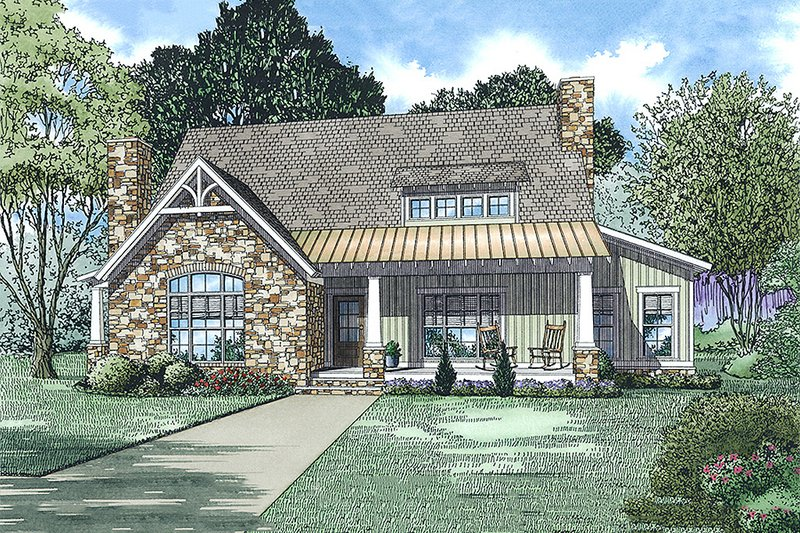 Cottage Exterior - Front Elevation Plan #17-2544