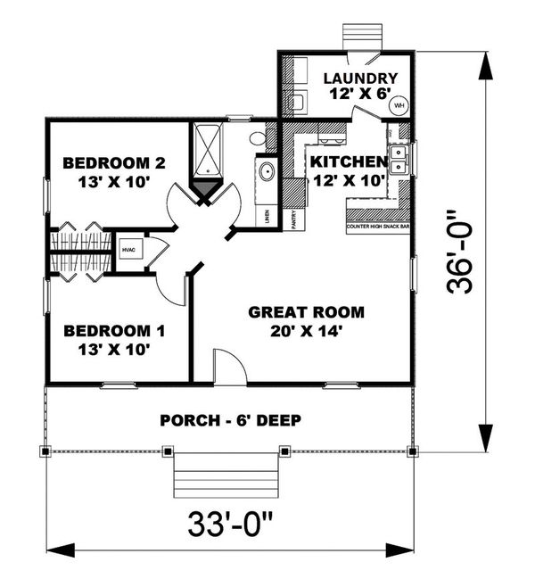 Country Floor Plan - Main Floor Plan #44-203