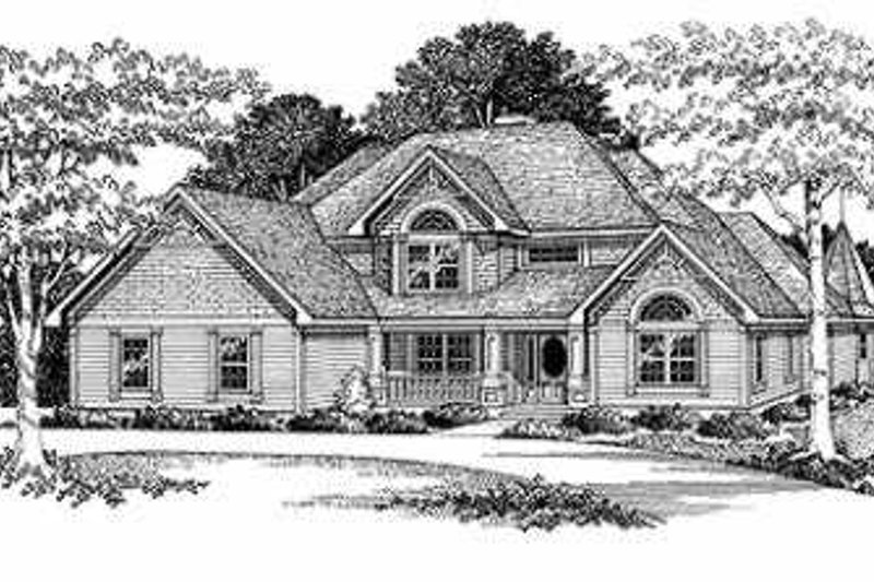 European Style House Plan - 4 Beds 3.5 Baths 3230 Sq/Ft Plan #70-496 Exterior - Front Elevation