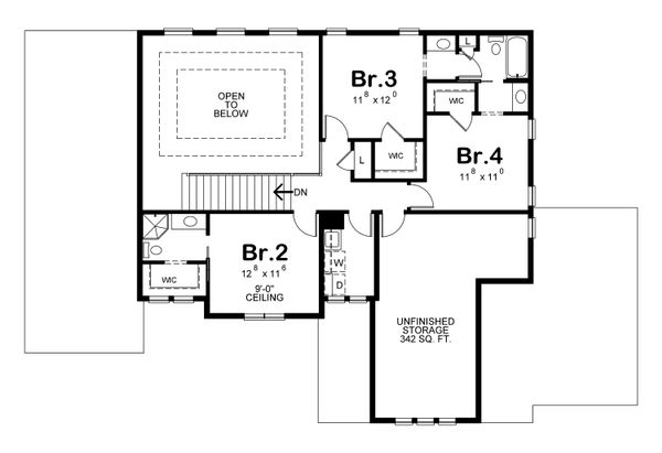 Modern Floor Plan - Upper Floor Plan Plan #20-2268