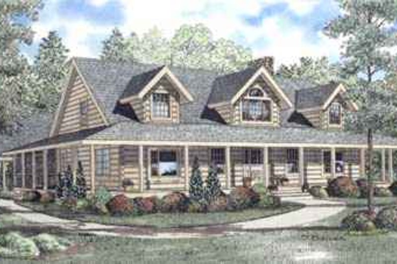 Log Style House Plan - 4 Beds 3 Baths 3098 Sq/Ft Plan #17-472 Exterior - Front Elevation