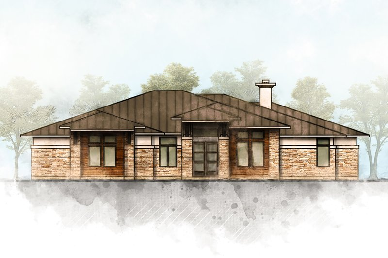 Contemporary Style House Plan - 5 Beds 4 Baths 3322 Sq/Ft Plan #80-216 Exterior - Front Elevation