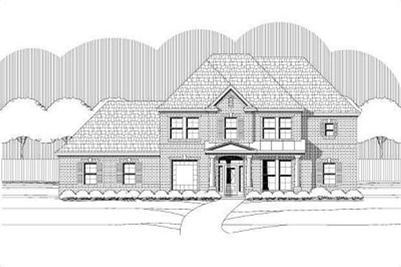 European Style House Plan - 5 Beds 3.5 Baths 3206 Sq/Ft Plan #411-782 Exterior - Front Elevation