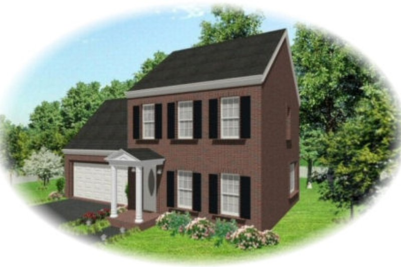 Colonial Style House Plan - 3 Beds 2.5 Baths 1300 Sq/Ft Plan #81-13846 Exterior - Front Elevation