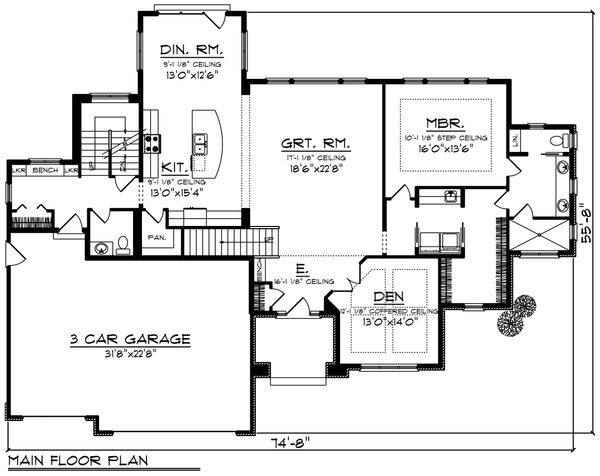 Southern Floor Plan - Main Floor Plan Plan #70-1227