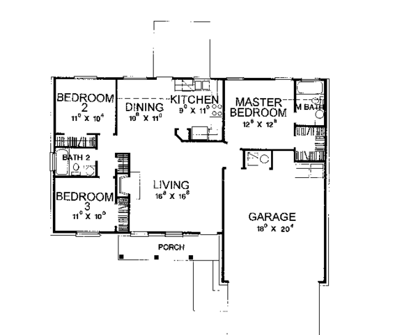 Ranch Floor Plan - Main Floor Plan Plan #472-125