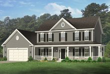 Colonial Exterior - Front Elevation Plan #1010-152