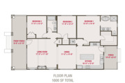 Bungalow Style House Plan - 3 Beds 2 Baths 1600 Sq/Ft Plan #461-67 Floor Plan - Main Floor