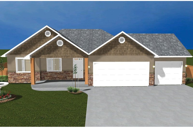 Ranch Exterior - Front Elevation Plan #1060-11