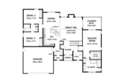 Ranch Style House Plan - 3 Beds 2.5 Baths 1866 Sq/Ft Plan #1010-104 Floor Plan - Main Floor
