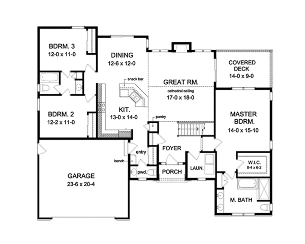 Ranch Floor Plan - Main Floor Plan Plan #1010-104