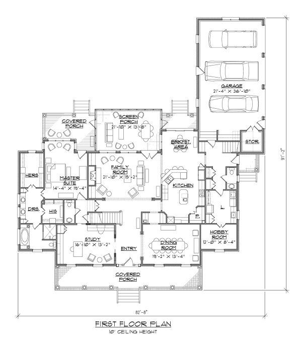Country Floor Plan - Main Floor Plan Plan #1054-75