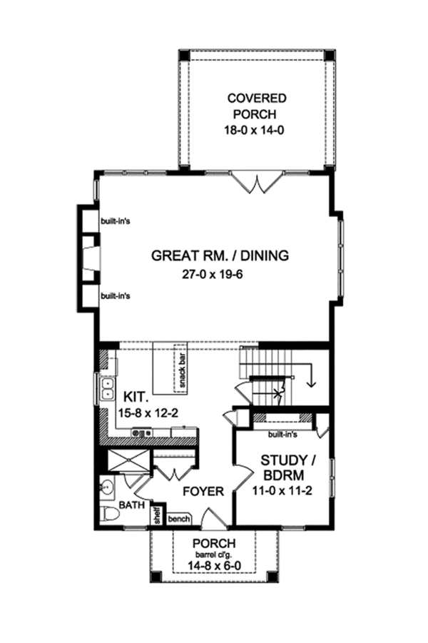 Colonial Floor Plan - Main Floor Plan Plan #1010-127
