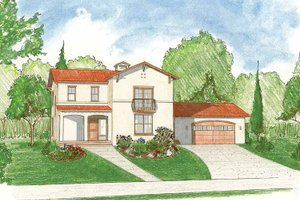 House Design - Mediterranean Exterior - Front Elevation Plan #1042-2