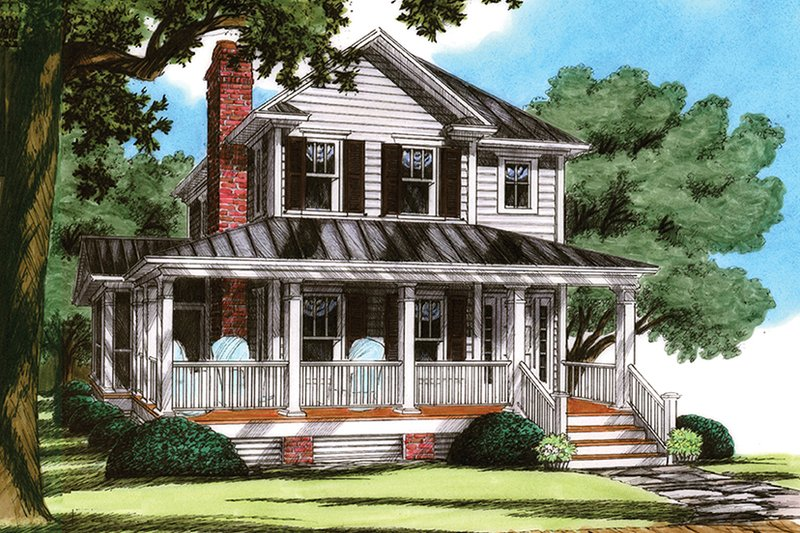 Dream House Plan - Traditional Exterior - Front Elevation Plan #991-23