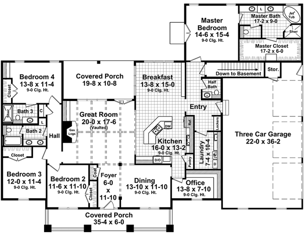 Craftsman Style House Plan - 4 Beds 3.5 Baths 2789 Sq/Ft Plan #21 ...
