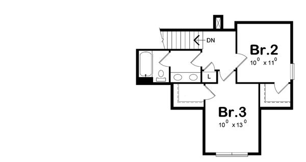 Craftsman Floor Plan - Upper Floor Plan Plan #20-2261