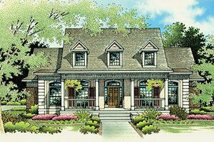 Southern Exterior - Front Elevation Plan #45-277