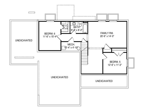 Traditional Floor Plan - Lower Floor Plan Plan #920-100