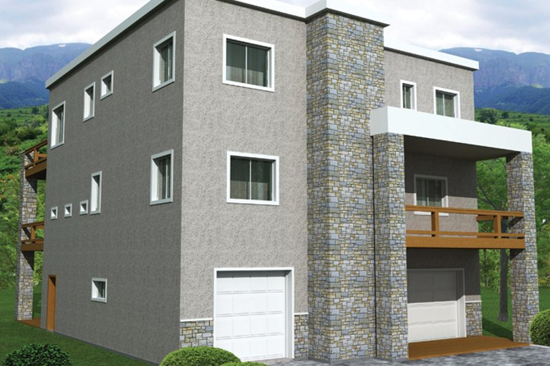Architectural House Design - Contemporary Exterior - Front Elevation Plan #117-862