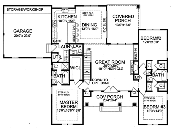 European Floor Plan - Main Floor Plan Plan #456-116