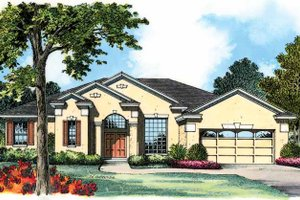 Mediterranean Exterior - Front Elevation Plan #1015-11