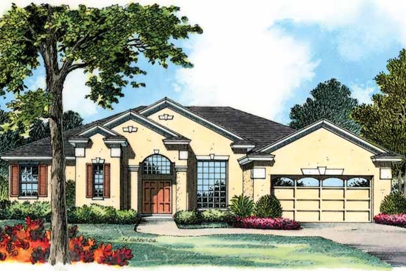 House Plan Design - Mediterranean Exterior - Front Elevation Plan #1015-11