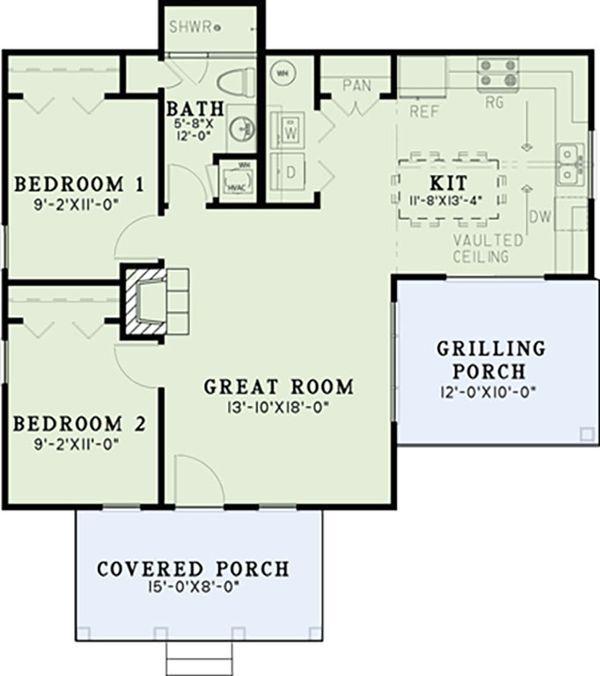 House Plan Design - Craftsman Floor Plan - Main Floor Plan #17-2606