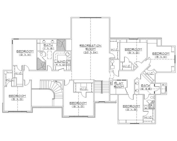 European Floor Plan - Upper Floor Plan Plan #5-453