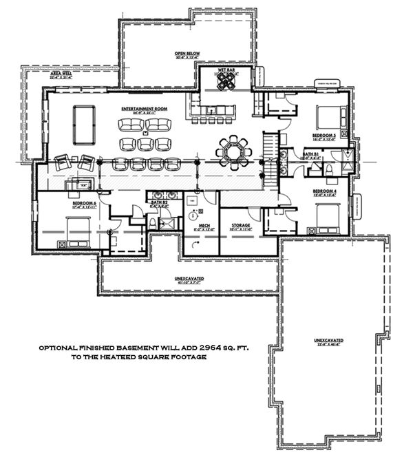 Architectural House Design - Optional Finished Basement
