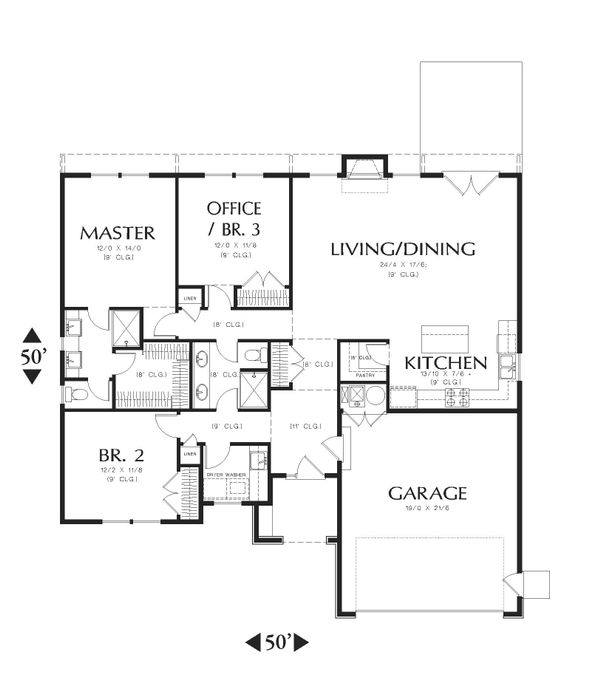 Traditional Floor Plan - Main Floor Plan Plan #48-596