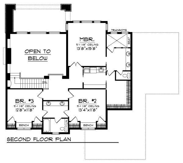 European Floor Plan - Upper Floor Plan Plan #70-877