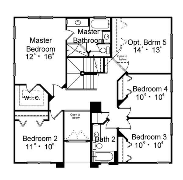 Mediterranean Floor Plan - Upper Floor Plan Plan #417-834