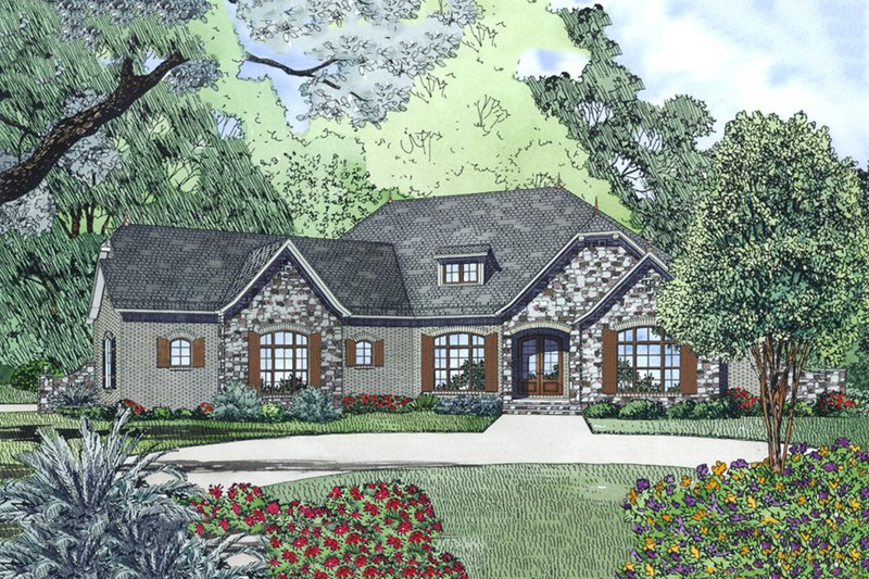 European Style House Plan - 4 Beds 2.5 Baths 2617 Sq/Ft Plan #17-2557 Exterior - Front Elevation